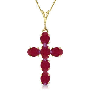 1.5 Carat 14K Solid Gold Cross Necklace Natural Ruby