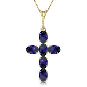 1.5 CTW 14K Solid Gold Cross Necklace Natural Sapphire