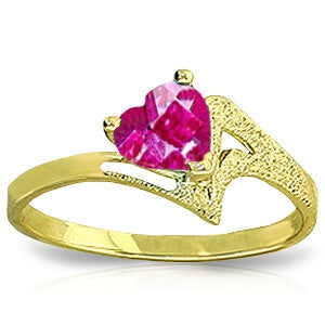 0.95 Carat 14K Solid Gold Authentic Element Pink Topaz Ring