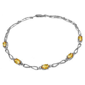 1.16 CTW 14K Solid Gold Tennis Bracelet Citrine Diamond