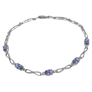 1.16 CTW 14K Solid White Gold Tennis Bracelet Tanzanite Diamond