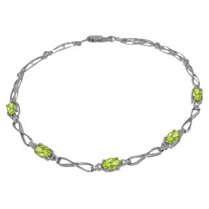 1.16 Carat 14K Solid Gold Show Goes On Peridot Diamond Bracelet