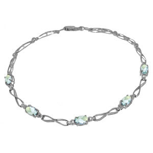 1.16 Carat 14K Solid White Gold Tennis Bracelet Aquamarine Diamond
