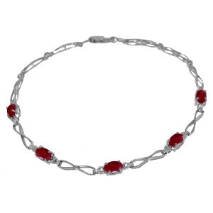 1.16 Carat 14K Solid Gold Whole New You Ruby Diamond Bracelet
