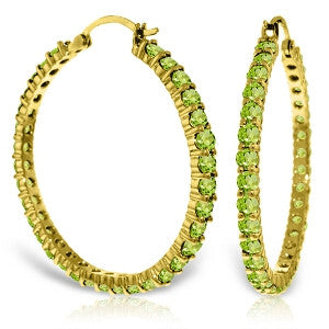 6 Carat 14K Solid Gold Alana Peridot Hoop Earrings