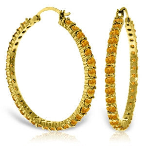 6 Carat 14K Solid Gold Alana Citrine Hoop Earrings