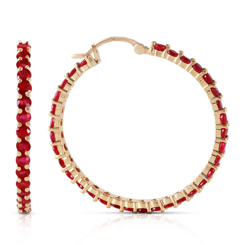 6 Carat 14K Solid Gold Alana Ruby Hoop Earrings