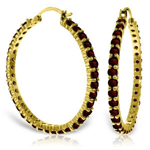 6 Carat 14K Solid Gold Alana Garnet Hoop Earrings