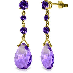 13.2 Carat 14K Solid Gold Bold View Amethyst Earrings