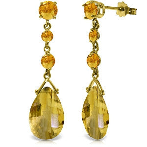 13.2 Carat 14K Solid Gold Bold View Citrine Earrings