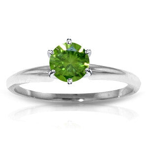 0.5 CTW 14K Solid White Gold Solitaire Ring 0.50 Carat Natural Green Diamond