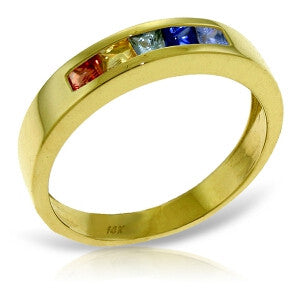 0.6 CTW 14K Solid Gold Rings Natural Multicolor Sapphire