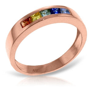 0.6 Carat 14K Solid Rose Gold Rings Natural Multicolor Sapphire