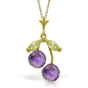 1.45 CTW 14K Solid Gold Cherry Orchard Amethyst Peridot Necklace