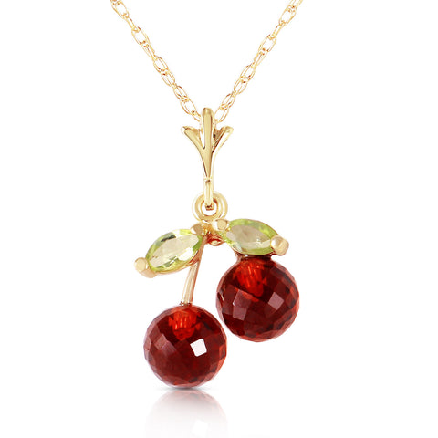 1.45 Carat 14K Solid Gold Cherry Pie Garnet Peridot Necklace