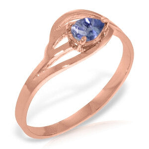 14K Solid Rose Gold Ring w/ Natural Tanzanite