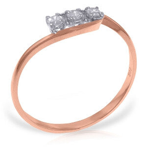 14K Solid Rose Gold Ring w/ 0.15 Carat Natural Diamond