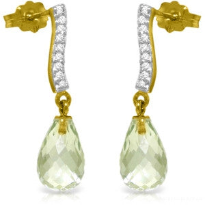 4.78 Carat 14K Solid Gold Adore Green Amethyst Diamond Earrings
