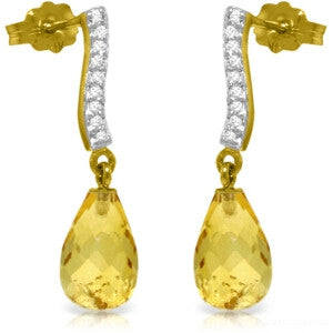 4.78 CTW 14K Solid Gold Adore Citrine Diamond Earrings