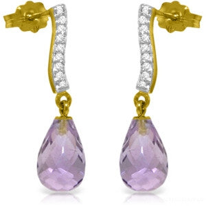 4.78 CTW 14K Solid Gold Adore Amethyst Diamond Earrings