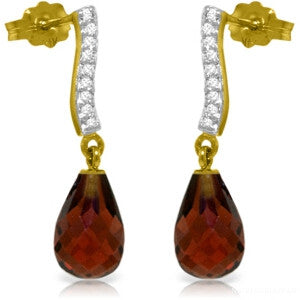 4.78 Carat 14K Solid Gold Adore Garnet Diamond Earrings