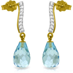 4.78 Carat 14K Solid Gold Adore Blue Topaz Diamond Earrings