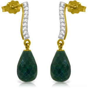 6.88 CTW 14K Solid Gold Adore Emerald Diamond Earrings