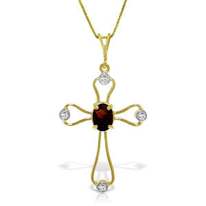 0.57 Carat 14K Solid Gold Cross Necklace Natural Diamonds Garnet