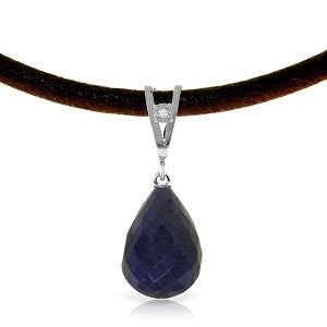 14.81 CTW 14K Solid White Gold Leather Necklace Diamond Sapphire
