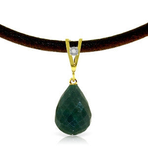 15.51 Carat 14K Solid Gold Leather Necklace Diamond Emerald