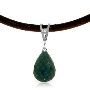 15.51 Carat 14K Solid White Gold Leather Necklace Diamond Emerald