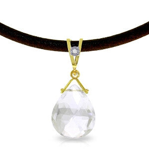 6.51 Carat 14K Solid Gold Attraction White Topaz Diamond Necklace