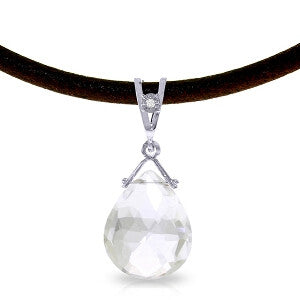 6.51 CTW 14K Solid White Gold Petal Kisses White Topaz Diamond Necklace