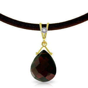 6.51 Carat 14K Solid Gold Attraction Garnet Diamond Necklace