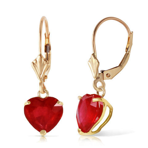 2.9 Carat 14K Solid Gold Cupid's Arrow Ruby Earrings