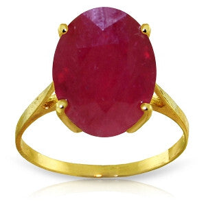 7.5 CTW 14K Solid Gold Ring Natural Oval Ruby
