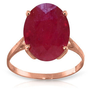 7.5 Carat 14K Solid Rose Gold Ring Natural Oval Ruby