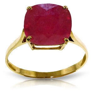 6.75 Carat 14K Solid Gold Ring Natural Cushion Shape Ruby