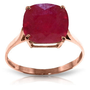 6.75 Carat 14K Solid Rose Gold Ring Natural Cushion Shape Ruby