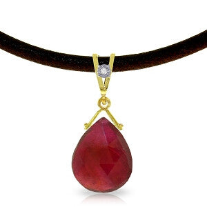 8.01 Carat 14K Solid Gold Attraction Ruby Diamond Necklace