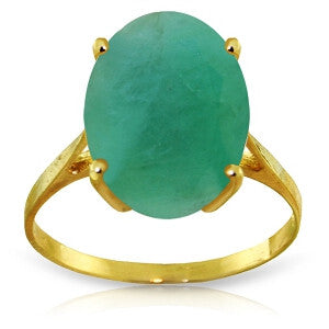 6.5 CTW 14K Solid Gold Ring Natural Oval Emerald