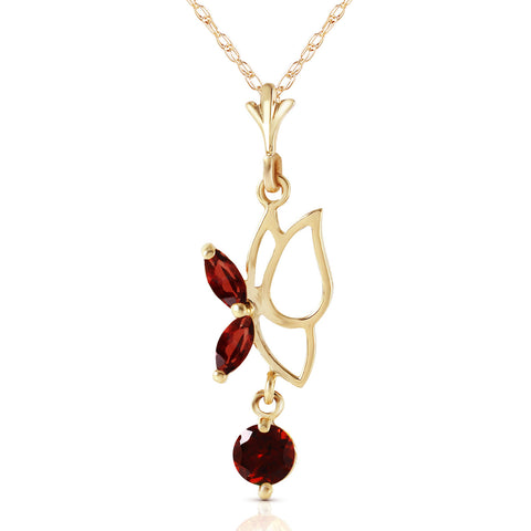 0.4 CTW 14K Solid Gold Butterfly Necklace Garnet