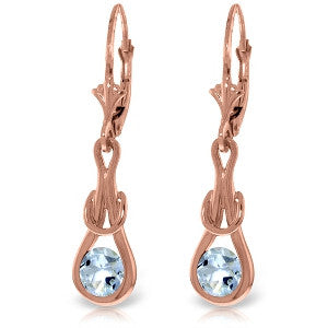 14K Solid Rose Gold Leverback Earrings w/ Natural Aquamarines