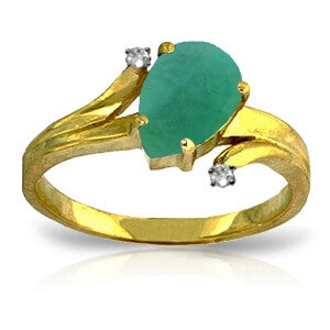 1.01 Carat 14K Solid Gold Ring Diamond Emerald
