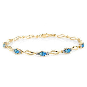 3.39 Carat 14K Solid Gold Radically Different Blue Topaz Diamond Bracelet
