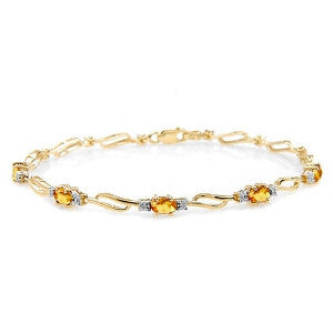 3.39 Carat 14K Solid Gold From This Perspective Citrine Diamond Bracelet