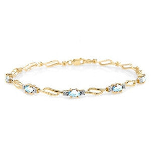 3.39 CTW 14K Solid Gold Love Is Free Aquamarine Diamond Bracelet