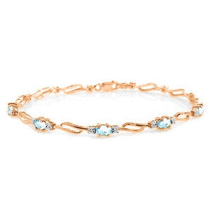 14K Solid Rose Gold Tennis Bracelet w/ Aquamarines & Diamonds