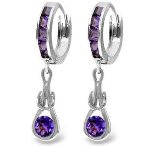 2.15 CTW 14K Solid White Gold Huggie Earrings Dangling Amethyst