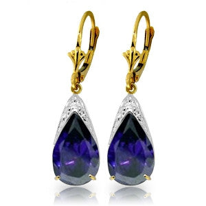9.3 Carat 14K Solid Gold Catch The Wave Sapphire Earrings